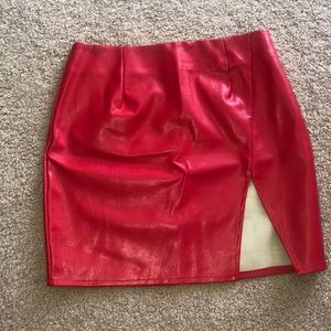 "RED ""leather"" SKIRT from REVOLVE"